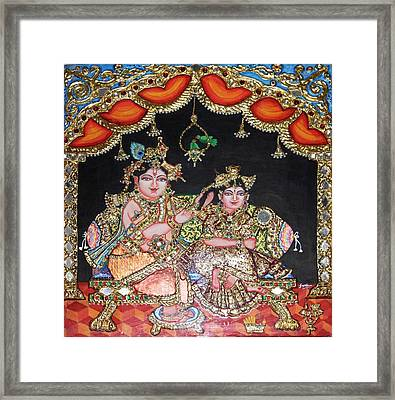 Radha Krishna Framed Print by Jayashree