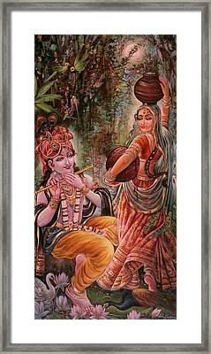 Radha Krishna Vrindawan Framed Print by Mayur Sharma