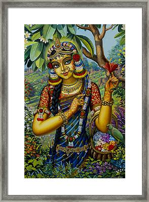 Radha On Govardhan Hill Framed Print by Vrindavan Das
