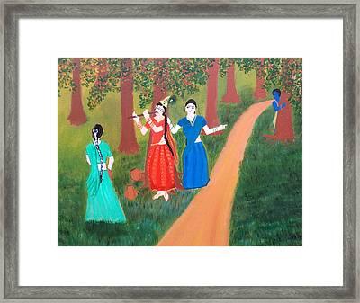 Radha Playing Krishna Framed Print by Pratyasha Nithin
