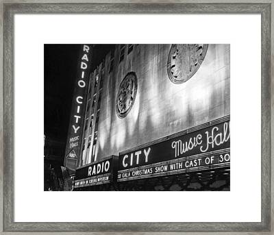 Radio City Music Hall Marquee Framed Print by Underwood Archives