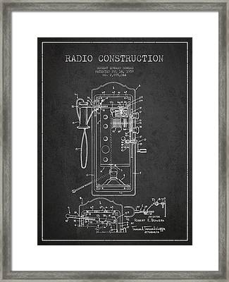 Radio Constuction Patent Drawing From 1959 - Dark Framed Print by Aged Pixel