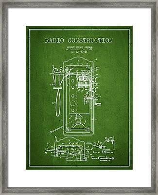 Radio Constuction Patent Drawing From 1959 - Green Framed Print by Aged Pixel