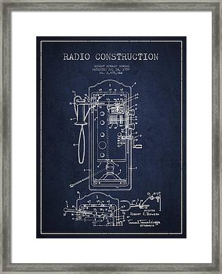 Radio Constuction Patent Drawing From 1959 - Navy Blue Framed Print by Aged Pixel