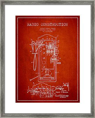 Radio Constuction Patent Drawing From 1959 - Red Framed Print by Aged Pixel