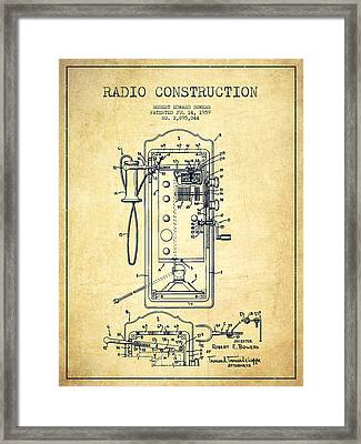 Radio Constuction Patent Drawing From 1959 - Vintage Framed Print by Aged Pixel