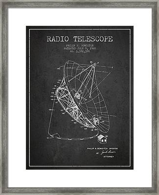 Radio Telescope Patent From 1968 - Charcoal Framed Print by Aged Pixel