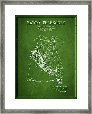 Radio Telescope Patent From 1968 - Green Framed Print by Aged Pixel