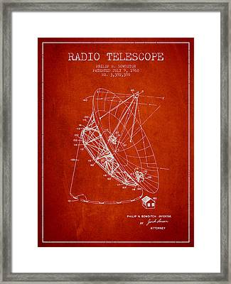 Radio Telescope Patent From 1968 - Red Framed Print by Aged Pixel