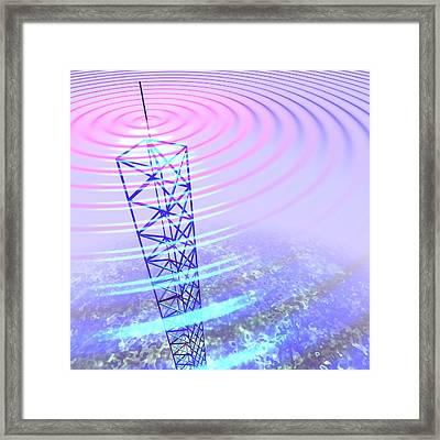 Radio Waves And Transmission Tower Framed Print by Russell Kightley