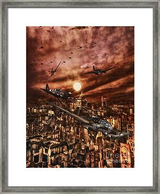 Raf Spitfire Chases A German Heinkel Over London Framed Print by Shawna Mac