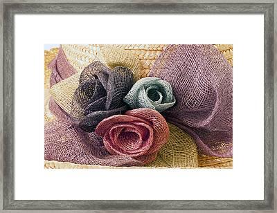 Raffia Roses Macro Framed Print by Sandra Foster