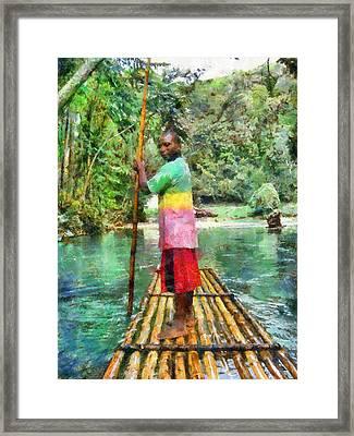 Rafting The Martha Brae Framed Print by Lester Phipps