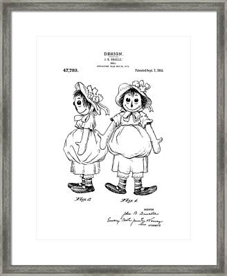 Raggedy Ann Patent Drawing Framed Print by Dan Sproul