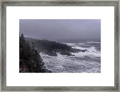 Raging Fury At Quoddy Framed Print by Marty Saccone