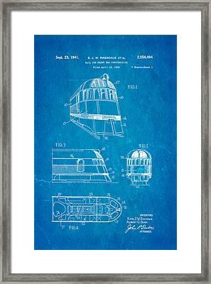 Ragsdale Pioneer Zephyr Train  3 Patent Art 1941 Blueprint Framed Print by Ian Monk