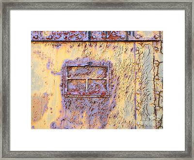 Rail Rust - Abstract - Lavender Window View  Framed Print by Janine Riley