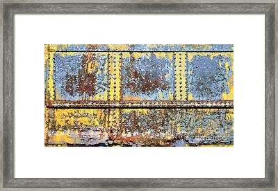 Rail Rust - Abstract - Yellow In 3 Framed Print by Janine Riley