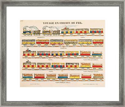 Rail Travel In 1845  Framed Print by French School