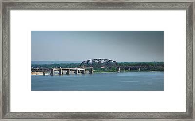 Railroad Bridge And Ohio River Framed Print by Steven Ainsworth