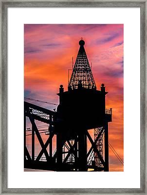 Railroad Bridge Sunset Framed Print by Dean Martin
