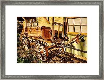 Railroad Luggage Cart Framed Print by Priscilla Burgers