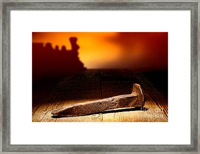 Railroad Spike Framed Print by Olivier Le Queinec