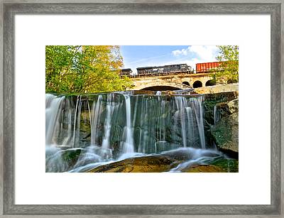 Railroad Waterfall Framed Print by Frozen in Time Fine Art Photography