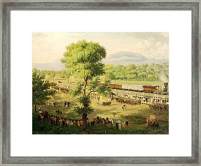 Railway In The Valley Of Mexico, 1869 Oil On Canvas Framed Print by Luiz Coto