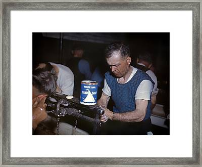 Railway Workers Washing Up At Lunch Time 1943 Framed Print by Mountain Dreams
