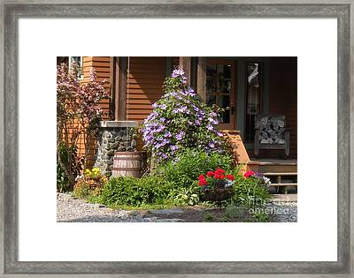 Rain Barrel Framed Print by Nancy Taylor Major