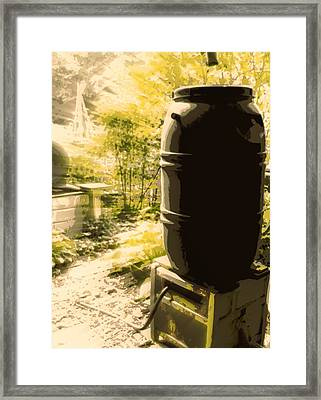 Rain Barrel Framed Print by Tg Devore