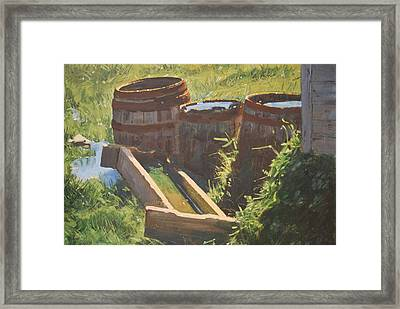 Rain Barrels With Watering Trough Framed Print by Len Stomski