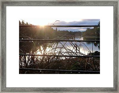 Rain Drops On Railing River View 1 Framed Print by Susan Garren