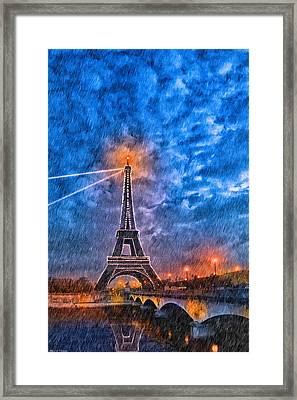 Rain Falling On The Eiffel Tower At Night In Paris Framed Print by Mark E Tisdale