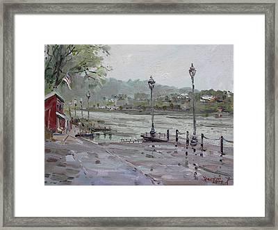 Rain In Lewiston Waterfront Framed Print by Ylli Haruni