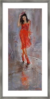 Rain In Manhattan Framed Print by Ylli Haruni