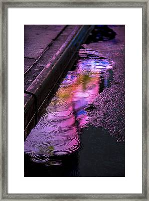 Rain In The Street Framed Print by Garry Gay