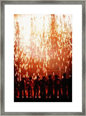 Rain Of Fire Framed Print by Lincoln Rogers