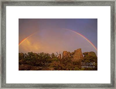 Rainbow At Chiricahua Framed Print by Keith Kapple