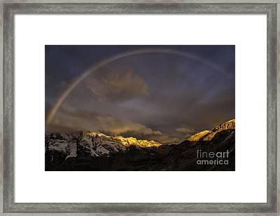 Rainbow At Diavolezza Framed Print by Timothy Hacker