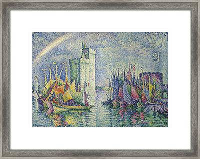 Rainbow At The Port Of La Rochelle Framed Print by Paul Signac