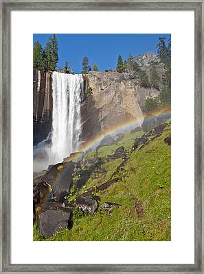 Rainbow At Vernal Falls Yosemite National Park Framed Print by Natural Focal Point Photography