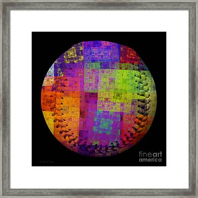 Rainbow Bliss Baseball Square Framed Print by Andee Design