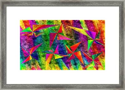 Rainbow Bliss - Pin Wheels - Painterly - Abstract - H Framed Print by Andee Design