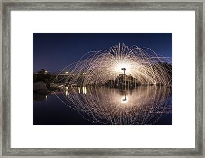 Rainbow Bridge Halo Framed Print by Lee Harland