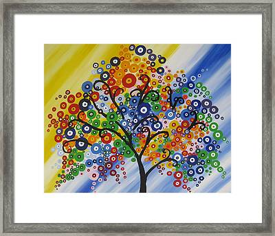 Rainbow Bubble Tree Framed Print by Cathy Jacobs