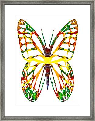 Rainbow Butterfly Abstract Nature Artwork Framed Print by Omaste Witkowski