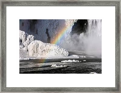 Rainbow By Skogarfoss Waterfall Framed Print by Panoramic Images