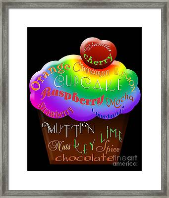 Rainbow Cupcake Typography Framed Print by Andee Design